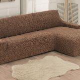 Чехол на диван угловой Правый Milano арт.2912 коричневый