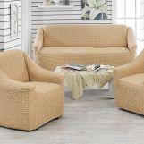 Чехлы на диван и 2 кресла без юбки Juanna Медовый арт.9327