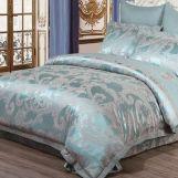 Постельное белье сатин с жаккардом Турция Damask арт.9455 голубой