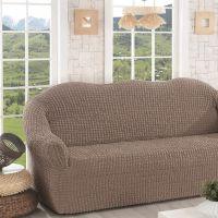 Чехол для дивана трехместный без юбки арт2652 кофе