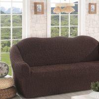 Чехол для дивана трехместный без юбки арт2652 коричневый