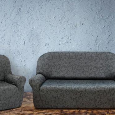 Комплект чехлов 2м диван и 2 кресла БОСТОН серый