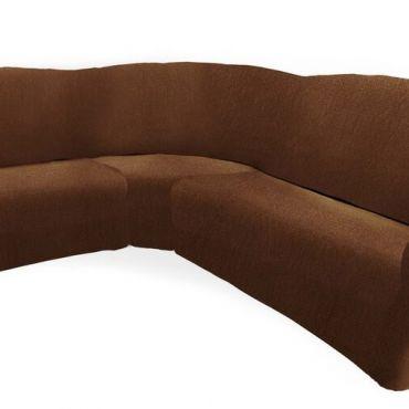 Чехол на классический угловой диван ТЕЙДЕ левый коричневый