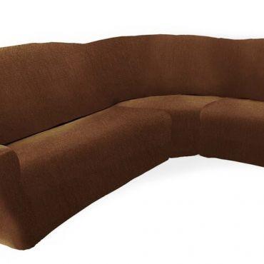 Чехол на классический угловой диван ТЕЙДЕ коричневый правый