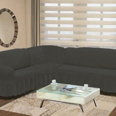 Чехол на угловой диван Турция арт8209 темно Серый