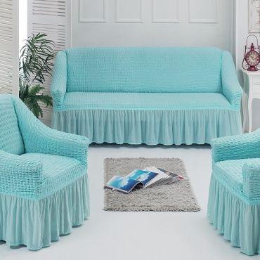 Набор чехлов диван и 2 кресла 3+1+1 Бирюза арт7565
