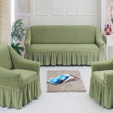Чехлы универсальные на диван и 2 кресла Фисташковый 7565