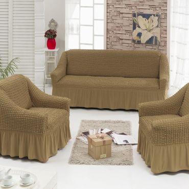 Набор чехлов диван и 2 кресла Кофе с молоком (Беж темный) арт7565