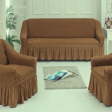 Набор чехлов диван и 2 кресла 3+1+1 св коричневый арт7565