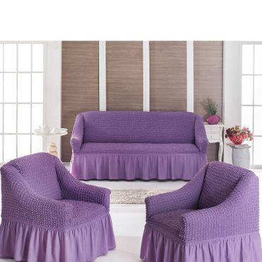 Набор чехлов диван и 2 кресла 3+1+1 Лиловый арт7565
