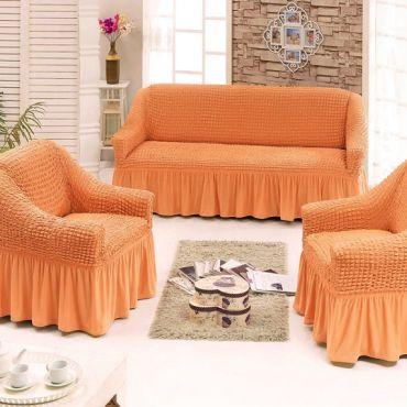 Набор чехлов на диван и 2 кресла Оранжевый арт7565