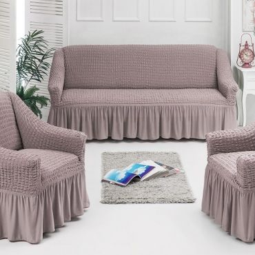 Набор чехлов диван и 2 кресла 3+1+1 Пудра арт7565
