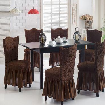 Чехлы на стулья 6шт Шоколад арт 8029