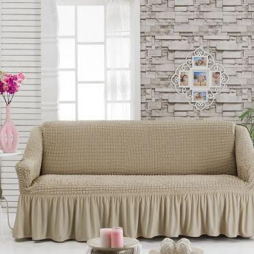 Чехол на диван 3-мест Беж Молочный арт 8122