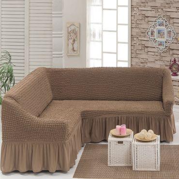 Чехол на угловой диван арт.8209 Серо-коричневый