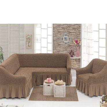 Чехол на угловой диван + Кресло DO&CO СероКоричневый арт 8211м