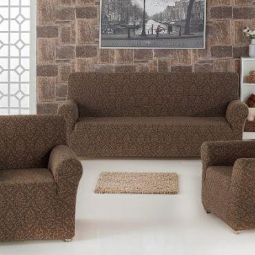 Набор чехлов диван и кресла Milano арт.2683 Коричневый