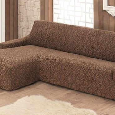 Чехол на диван угловой Левый  Milano арт.2913 коричневый