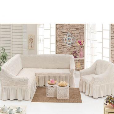 Чехол на угловой диван + Кресло DO&CO Кремовый арт 8211м