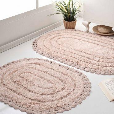 Набор ковриков кружевной YANA 60x100 +50x70 Пудра (арт 5026)