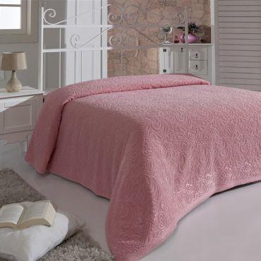 """Простынь махровая """"KARNA"""" ESRA 160x220 Розовый арт.1787"""