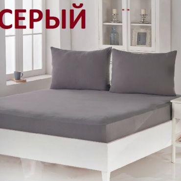 Простынь на резинке трикотаж Karna 180х200+30 арт.2961 Серый