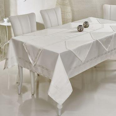 Скатерть с салфетками Verolli Ottoman Белая арт1318