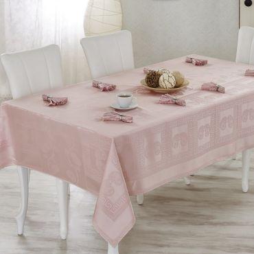 Скатерть с салфетками VEROLLI ROYAL арт 1321 розовая