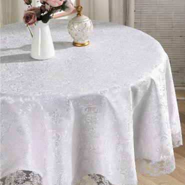 Скатерть круглая с гипюром Karna LEDA 180 арт.2793 белая