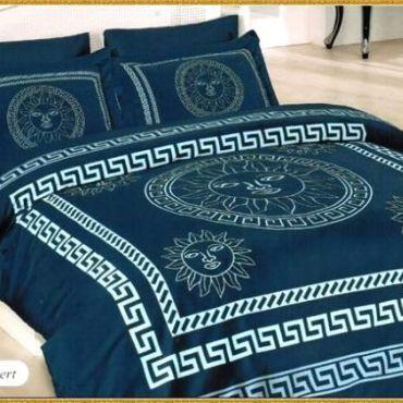 Постельное белье бамбук евро Gunes Синее №129