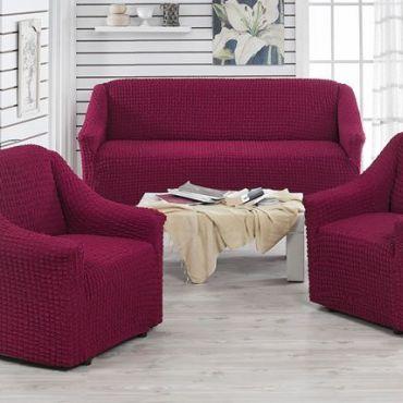 Чехлы на диван и 2 кресла без юбки Juanna Бордовый арт.9327