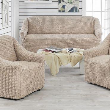 Чехлы на диван и 2 кресла без юбки Juanna Капучино арт.9327