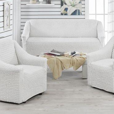 Чехлы на диван и 2 кресла без юбки Juanna Крем арт.9327