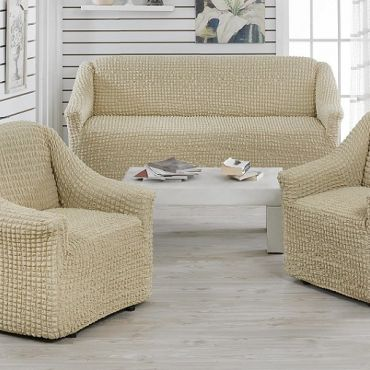 Чехлы на диван и 2 кресла без юбки Juanna Молочный арт.9327