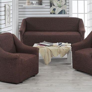 Чехлы на диван и 2 кресла без юбки Juanna темно Коричневый арт.9327