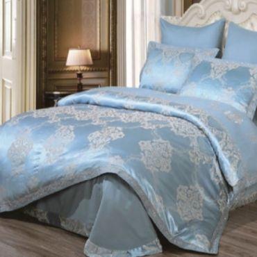 Постельное белье сатин с жаккардом Турция SAL арт.9454 синий