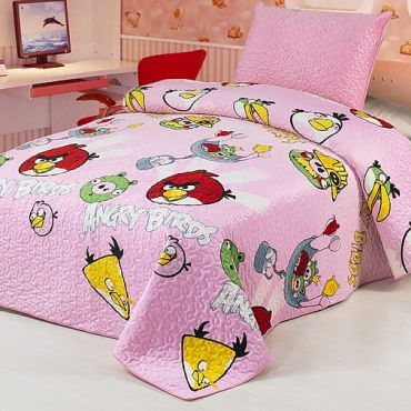 Покрывало Angry Birds розовое арт.CB11 2262-04