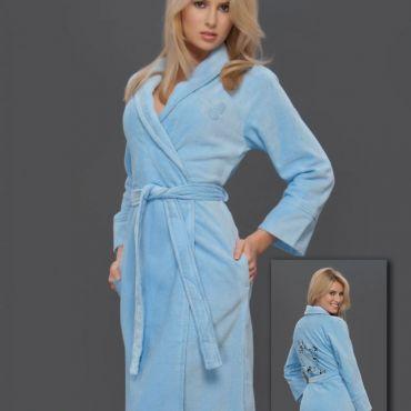 Халат махровый женский  hlt9660 Голубой
