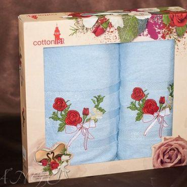 Набор полотенец 2шт Роза арт8472-02 Голубой