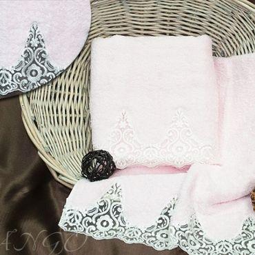 Комплект полотенец Barracouta с кружевом арт8322-04 розовый