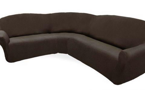 Чехол на классический угловой диван АЛЯСКА коричневый левый