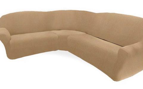 Чехол на классический угловой диван ТЕЙДЕ левый бежевый