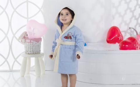 Детский халат с капюшоном Karna Snop голубой арт.2820