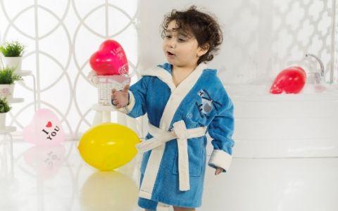 Детский халат с капюшоном Karna Snop синий арт.2820