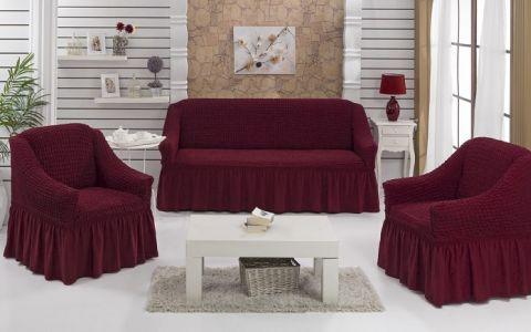 Набор чехлов диван и 2 кресла 3+1+1 Бордо арт7565