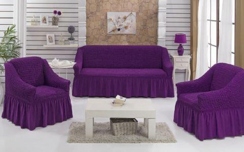 Набор чехлов диван и 2 кресла 3+1+1 Баклажан №7565