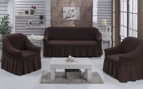 Набор чехлов диван и 2 кресла 3+1+1 Шоколад арт7565