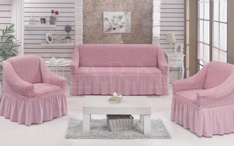Набор чехлов дла дивана и кресел BULSAN Светло-розовый