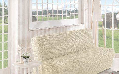 Чехол на диван без подлокотников 2м арт2649 крем