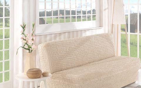Чехол на диван без подлокотников 2м арт2649 натурал